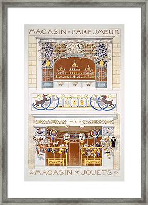 Two Shop-front Designs A Perfume Framed Print by Rene Binet