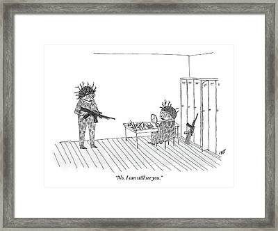 Two Soldiers Dress Up In Camouflage Framed Print by Edward Steed