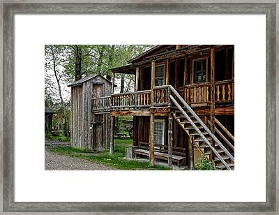 Two Story Outhouse - Nevada City Montana Framed Print by Daniel Hagerman