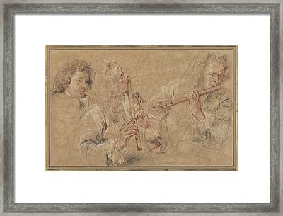 Two Studies Of A Flutist And A Study Of The Head Of A Boy Framed Print by Celestial Images