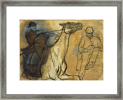 Two Studies Of Riders Framed Print by Edgar Degas
