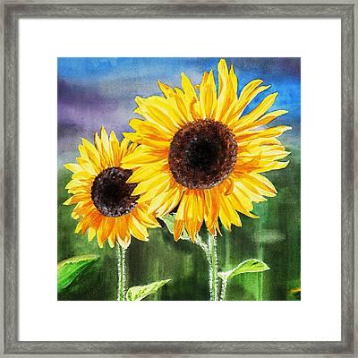 Two Sunflowers Framed Print by Irina Sztukowski