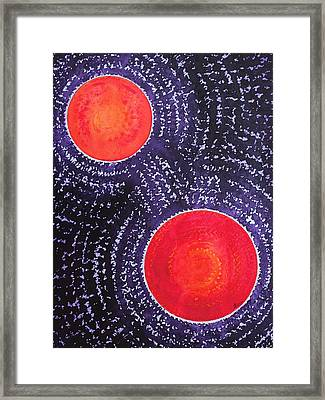 Two Suns Original Painting Framed Print by Sol Luckman
