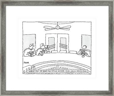 Two Superheros Martini-man And Beer-man Sitting Framed Print by Jack Ziegler