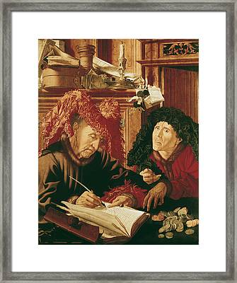Two Tax Gatherers, C.1540 Oil On Panel Framed Print by Marinus van Reymerswaele