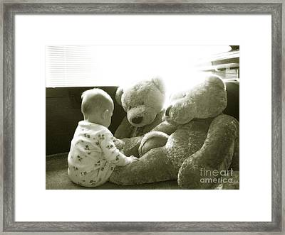 Two Teddy Bears Framed Print by Cadence Spalding