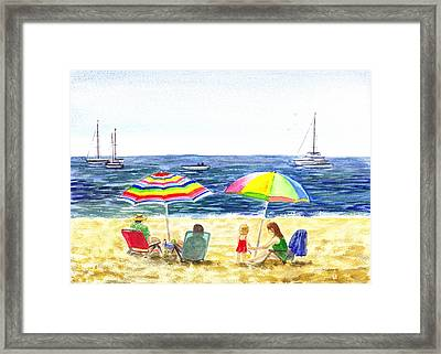 Two Umbrellas On The Beach California  Framed Print by Irina Sztukowski