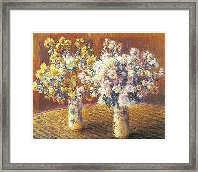 Two Vases Of Chrysanthemums Framed Print by Claude Monet