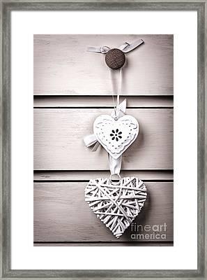 Two Vintage Hearts Framed Print by Jane Rix