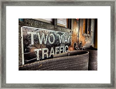 Two Way Traffic Framed Print by Sennie Pierson