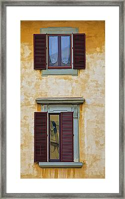 Two Windows Of Cortona Framed Print by David Letts