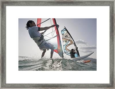 Two Windsurfers Side By Side Framed Print by Ben Welsh