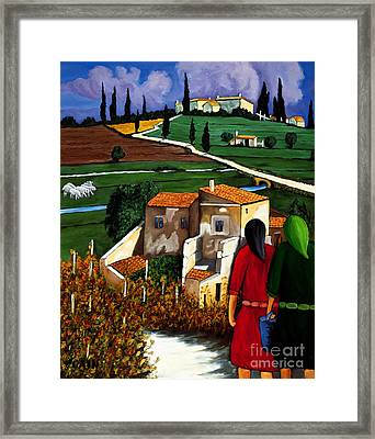 Two Women And Village Sheep Framed Print by William Cain