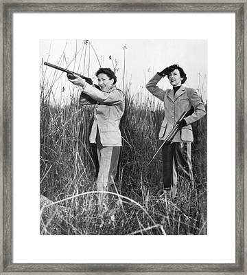 Two Women Hunting Framed Print by Underwood Archives