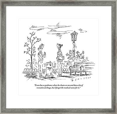 Two Women In Exercise Gear Talk By A Water Framed Print by Barbara Smaller