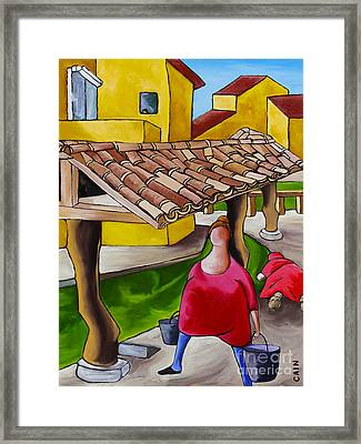 Two Women Under Tile Roof Framed Print by William Cain