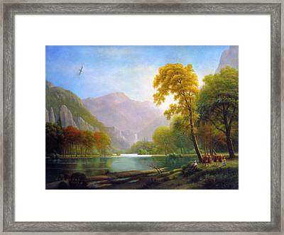 Two Woodcutters Framed Print by Yoo Choong Yeul