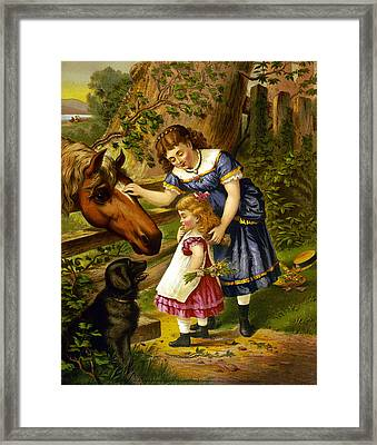 Two Young Girls Framed Print by Unknown