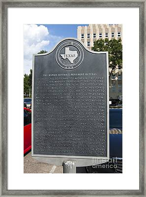 Tx-15026 The Woman Suffrage Movement In Texas Framed Print by Jason O Watson