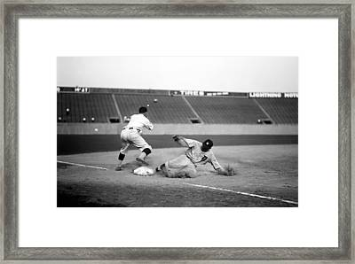 Ty Cobb Sliding Into Third Base 1924 Framed Print by Mountain Dreams