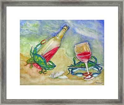 Tybee Blue Crabs Tipsy Framed Print by Doris Blessington