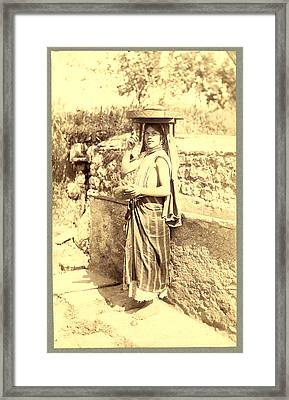 Types Algerians Young Girl Bread Market, Neurdein Brothers Framed Print by Litz Collection