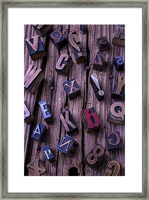 Typesetting Blocks Framed Print by Garry Gay