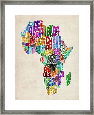 Typography Map Of Africa Framed Print by Michael Tompsett