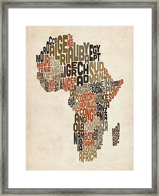 Typography Text Map Of Africa Framed Print by Michael Tompsett