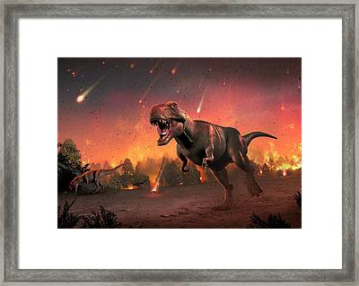 Tyrannosaurs Fleeing A Hail Of Meteorites Framed Print by Mark Garlick