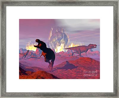 Tyrannosaurus Rex Dinosaurs Escaping Framed Print by Elena Duvernay