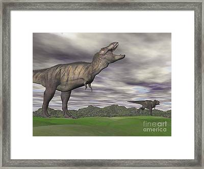 Tyrannosaurus Rex Growling As A Fellow Framed Print by Elena Duvernay