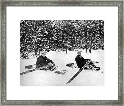 U Of W Crew Stage Toboggan Race Framed Print by Underwood Archives