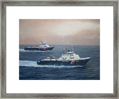 U. S. Coast Guard Surface Effects Ships Sea Sea Hawk And Shearwater  Framed Print by William H RaVell III