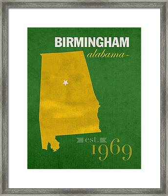 Uab University Of Alabama At Birmingham Blazers College Town State Map Poster Series No 009  Framed Print by Design Turnpike