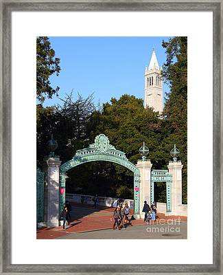 Uc Berkeley . Sproul Plaza . Sather Gate And Sather Tower Campanile . 7d10027 Framed Print by Wingsdomain Art and Photography