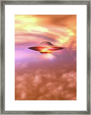 Ufo In A Cloudy Sky Framed Print by Victor Habbick Visions