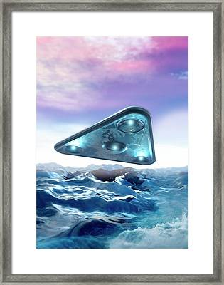 Ufo Over The Sea Framed Print by Victor Habbick Visions