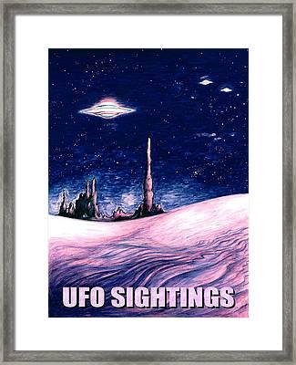 Ufo Sightings - Alien Space Poster Framed Print by Art America Online Gallery