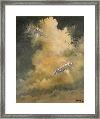 Ufo's Breaking Cloud Cover Framed Print by Tom Shropshire