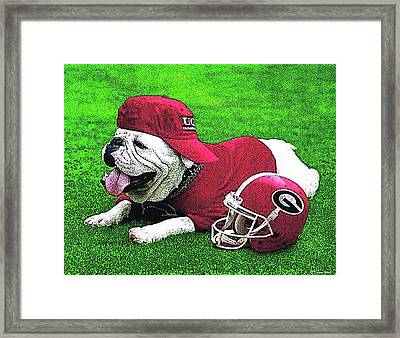 Uga With Helmet T-shirt Framed Print by Herb Strobino