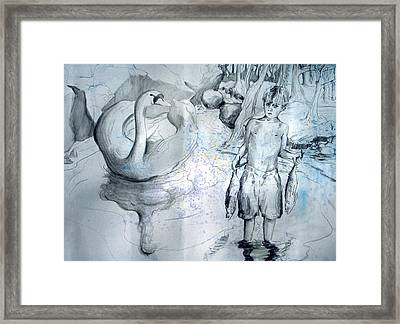 Ugly Duckling Gone Fishing Framed Print by Rene Capone