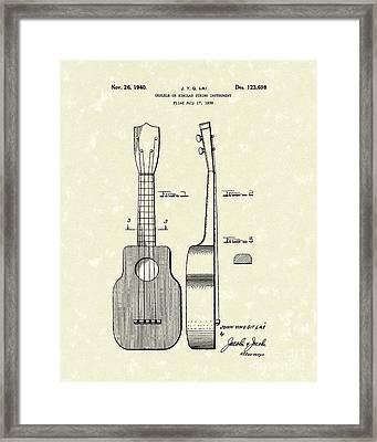 Ukelele 1940 Patent Art Framed Print by Prior Art Design