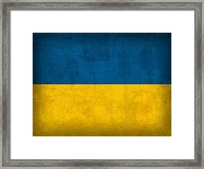 Ukraine Flag Vintage Distressed Finish Framed Print by Design Turnpike
