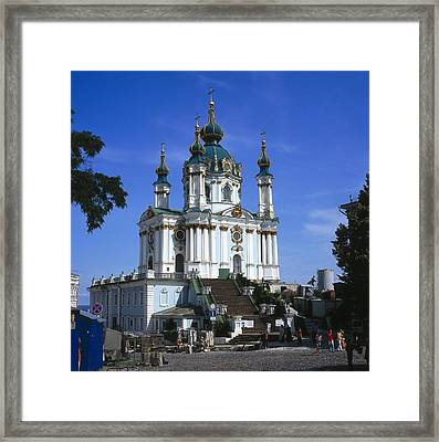 Ukraine. Kiev. Saint Andrews Church Framed Print by Everett