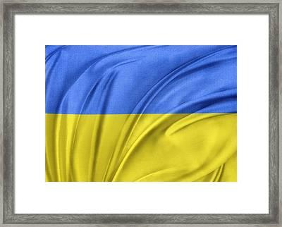 Ukrainian Flag Framed Print by Les Cunliffe