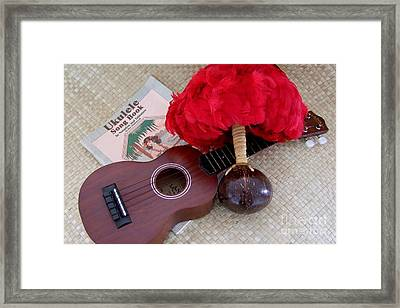 Ukulele Ipu And Songbook Framed Print by Mary Deal