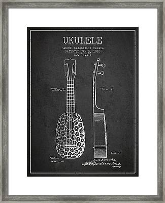 Ukulele Patent Drawing From 1928 - Dark Framed Print by Aged Pixel
