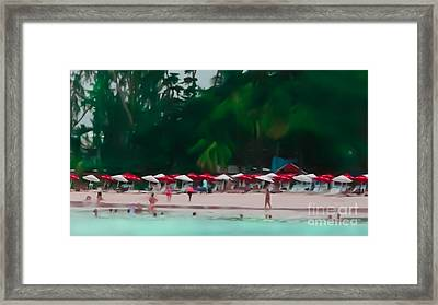 Umbrella Beach Framed Print by Perry Webster