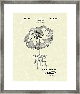 Umbrella Table 1940 Patent Art Framed Print by Prior Art Design